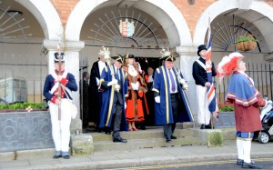 The mayoral procession leaves the town hall led by town crier Rex Swain and escorted by members of the Cinque Ports Volunteers