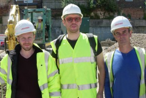 JDA's Rob Pollard at work with builder Ryan Harborne (centre) and site manager Andrew West