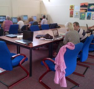 Computer update: club members learn their way round keyboards and screens
