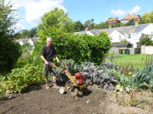 At Rye's South Undercliff allotments Bill White shows how a rotavator should be used