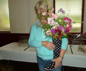 Welly I never - Lorna Hall is a winner with her flowers in an unusual container