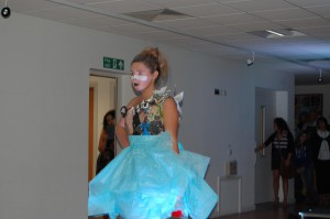 One of the organisers Jade Tate on the catwalk