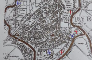 Rye's defensive ring in 1940: artillery batteries are in blue and pill boxes are in red