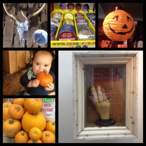 Peroxide-ing a skull, Snazaroo Face paint from £3.99 & Light-up Paper Lantern £2.50 both Adams of Rye, Baby Luna enjoying the decor at The Ship, Pumpkins at Johnson's Fruiterer's 99p per kilo, Severed Hand by Peter Quinnell at Rye Art Gallery