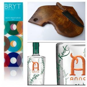 Bryt Skincare range for her & him, Board and Bowl serving board, made in East Sussex, Anno Gin, made in Kent all at the Midwinter Fair