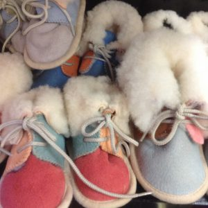 Sheepskin booties sizes 2-6 £10.99 The Golden Fleece, Lion Street