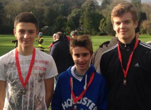 Nathan Pagden, George Ball and Joseph Fraser after the run