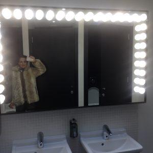 A selfie: me enjoying the carnival bulb mirror at Rye's Kino