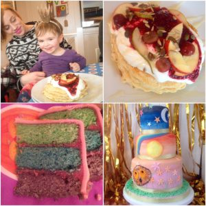 Stack of pancakes at the Pelican and a second birthday cake for my niece in Rye