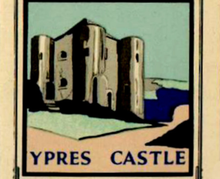 This old Whitbread sign of the Ypres Castle Inn is from the 1950s