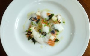 Scallop and salmon carpaccio, with pear and lime dressing and seaweed, as served by Paul Webbe