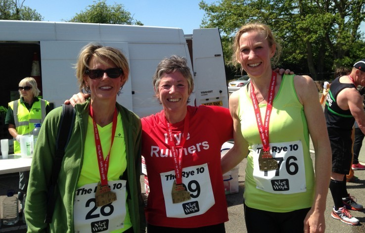 Rye Runners Beth Harvey, Katie Gurney and Georgina Stephenson with their finishers medals