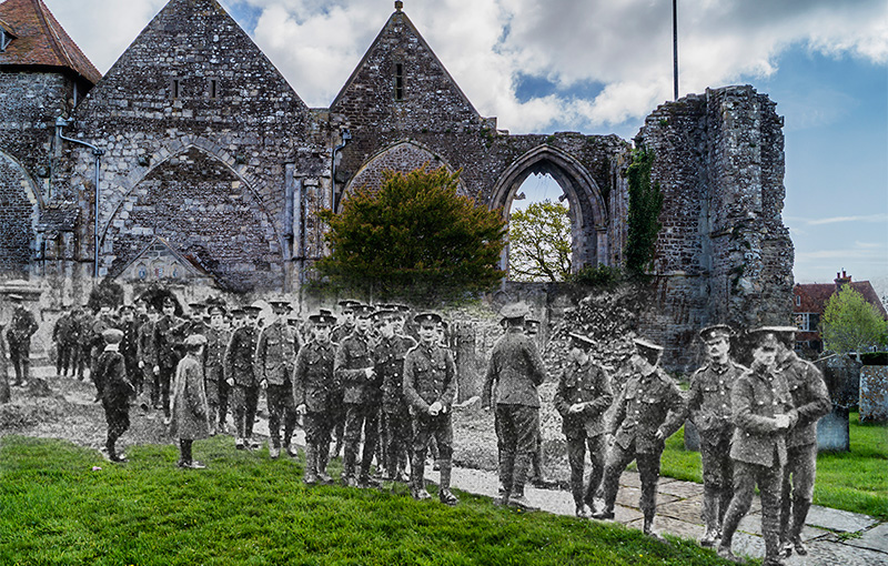 More than 200 members of B Company of the 11th Welch Regiment attended Divine Service at Winchelsea Church on Sunday, March 7, 1915.