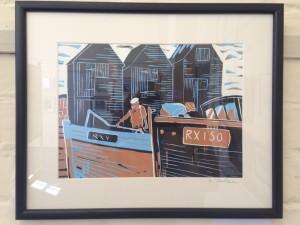 Linda Graham's Fishermen in their Boats - linocut