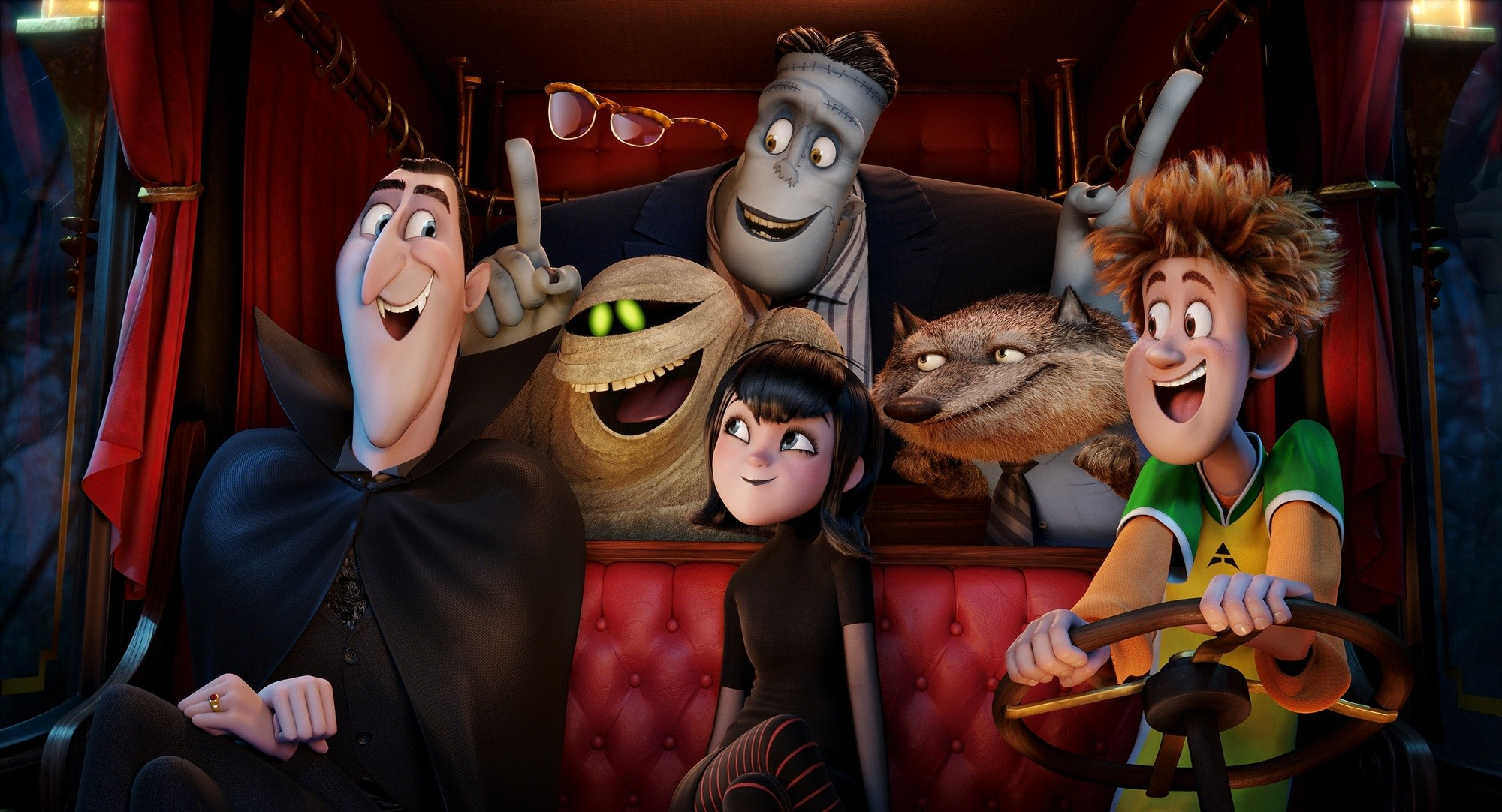 """EXCLUSIVE FOR FIRST USE IN USA TODAY ON 11/26/14 Dracula (Adam Sandler), Griffin the Invisible Man (David Spade), Murray (Keegan-Michael Key), Frank (Kevin James), Mavis (Selena Gomez), Wayne (Steve Buscemi) and Johnny (Andy Samberg) in a scene from the animated motion picture """"Hotel Transylvania 2."""" CREDIT: Sony Pictures Animation [Via MerlinFTP Drop]"""