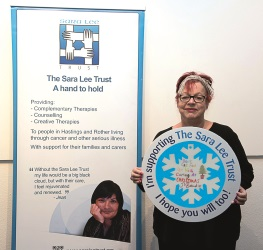Jo Brand says 'Don't get fed up with caring at Christmas and support the Sara Lee Trust's Snowflake Window Campaign'.