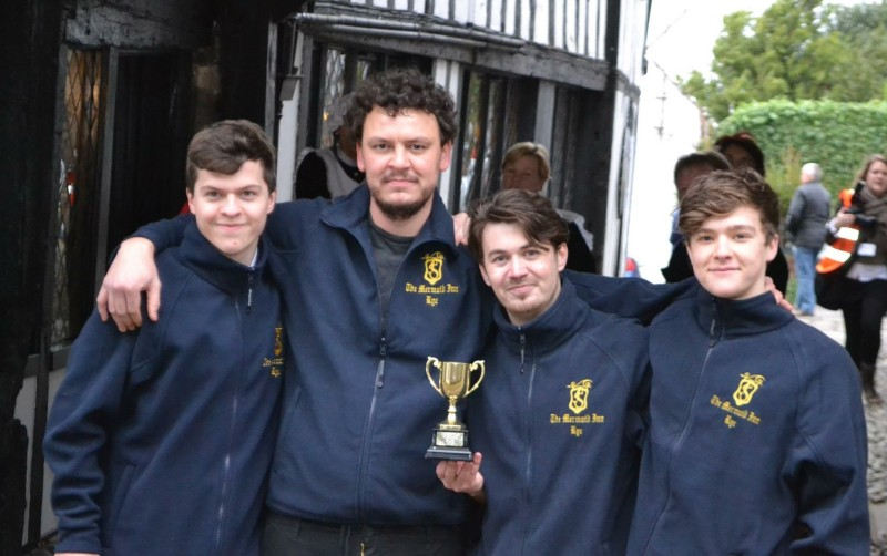 The Mermaid Inn team of Ben Foster, Daniel Dinsdale, Alain Horgan and Harvey Laker were successful in the Christmas pudding race.