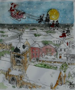 The Mayor and town councillors pull Father Christmas over Rye's rooftops