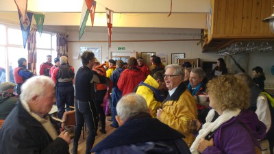 Post race warm-up in the clubhouse