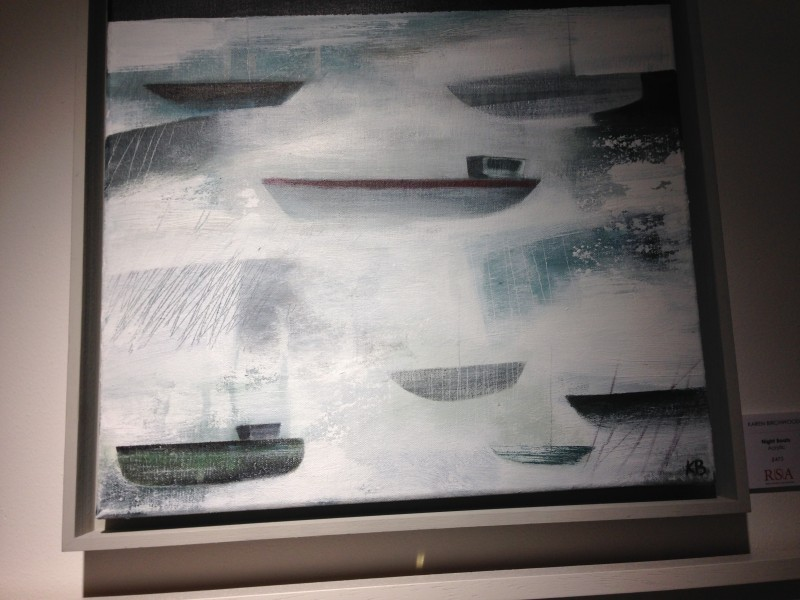 Waves on a beached boat by Denise Franklin