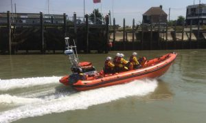 Rye Harbour lifeboat and crew head out from their base