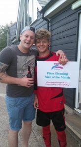 Louboi Barker congratulating the Pikes Cleaning Man of the match Sammy Foulkes