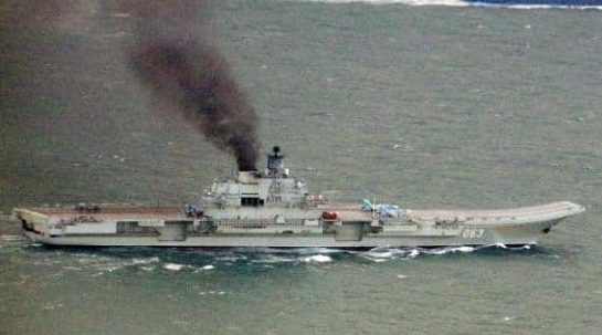 A closer view of the Admiral Kuznetzov off Rye Bay