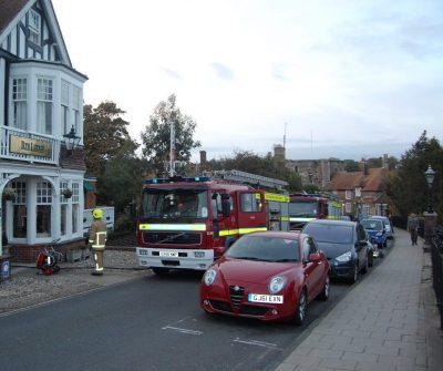 Fire appliances outside the Rye Lodge Hotel