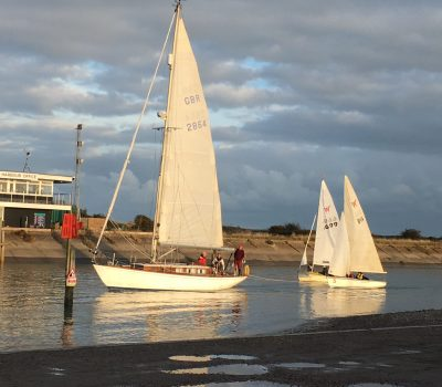 Two of the dinghies being towed back by Helena Anne