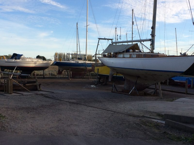Some of the boats up on the hard for their winter rest. Helena Anne in the foreground