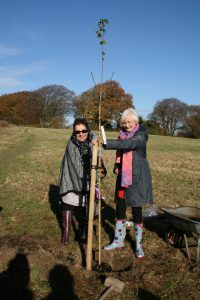Gill Nokes, chairman of East Sussex W I Federation (l) with Beryl Jenkins, President of Brede W I (r)