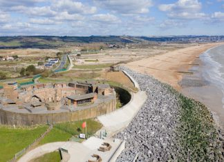 The completed Hythe Ranges sea defence scheme, March 2021